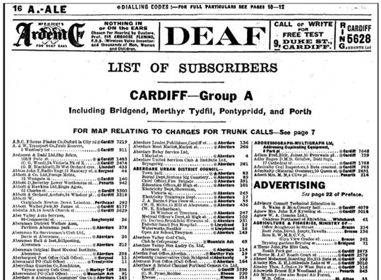 south wales 1938 telephone directory